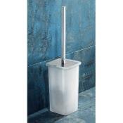 Toilet Brush Square White Glass Toilet Brush Holder Gedy 5733-02