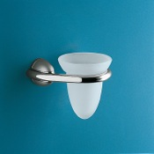 Toothbrush Holder Chrome and Frosted Glass Tumbler Gedy 5910-13