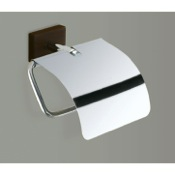 Toilet Paper Holder Chrome Toilet Roll Holder With Cover and Wood Base Gedy 6625-19