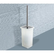 Toilet Brush Square Frosted Glass Toilet Brush Holder Gedy 6633-S2