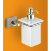 Soap Dispenser White Soap Dispenser with Chrome and Washed Oak Wood Wall Mount Gedy 6681-26