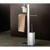 Bathroom Butler Floor Standing Chromed Brass Bathroom Butler With Towel Holder 7636-13 Gedy 7636-13