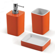 Bathroom Accessory Set Orange Accessory Set Made of Thermoplastic Resins Gedy ARI200-67