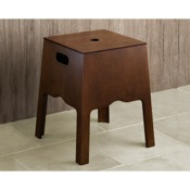 Bathroom Stool Floor Standing Storage Bing And Stool In Old Walnut Finish 8173-95 Gedy 8173-95