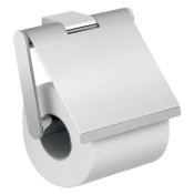 Toilet Paper Holder Square Wall Mounted Chrome Toilet Paper Holder with Cover Gedy A225-13
