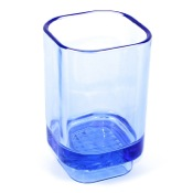 Toothbrush Holder Transparent Light Blue Free Standing Tumbler Gedy 1098-11