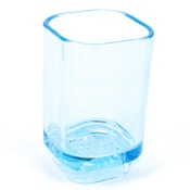 Toothbrush Holder Transparent Sky Blue Free Standing Tumbler Gedy 1098-86