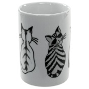 Toothbrush Holder White Tumbler with Cat Picture Gedy 1898-4176