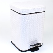 Waste Basket Square Faux Leather Waste Bin With Pedal Gedy 6709