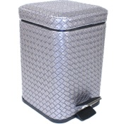 Waste Basket Square Old Silver Faux Leather Waste Bin With Pedal Gedy 6709-77
