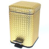 Waste Basket Square Gold Faux Leather Waste Bin With Pedal Gedy 6709-87