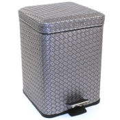Waste Basket Square Old Silver Faux Leather Waste Bin With Pedal Gedy 6729-77
