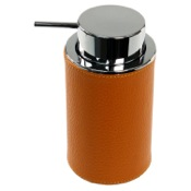 Soap Dispenser Round Soap Dispenser Made From Faux Leather Available in Three Finishes Gedy AC80