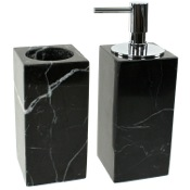 Bathroom Accessory Set Black 2 Piece Marble Bathroom Accessory Set Gedy AN500-14