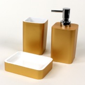 Bathroom Accessory Set Gold Accessory Set Made of Thermoplastic Resins Gedy ARI200-87