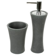 Bathroom Accessory Set Black Soap Dispenser and Toothbrush Holder Accessory Set Gedy AU500-14