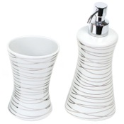 Bathroom Accessory Set Silver 2 Piece Decorative Bathroom Accessory Set Gedy DV500-73