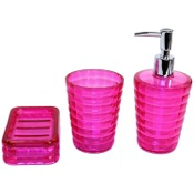 Bathroom Accessory Set Thermoplastic Resins 3 Piece Accessory Set in Pink GL200-76 Gedy GL200-76