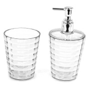 Bathroom Accessory Set Transparent Toothbrush Holder and Soap Dispenser Accessory Set GL500-00 Gedy GL500-00