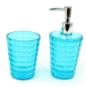 Bathroom Accessory Set Turquoise Toothbrush Holder and Soap Dispenser Accessory Set GL500-92 Gedy GL500-92