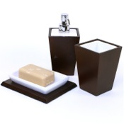 Bathroom Accessory Set Kyoto Tanganika Wood and Pottery Accessory Set Gedy KY200-31