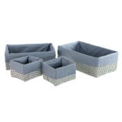 Storage Basket Rectangular Grey Storage Basket Set in Raffia and Nylon Gedy LA99-08