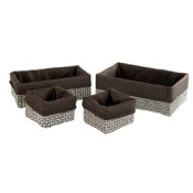 Storage Basket Rectangular Moka Storage Basket Set in Raffia and Nylon Gedy LA99-29