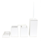 Bathroom Accessory Set Marrakech Pearl White Faux Leather Thermoplastic Resins Accessory Set Gedy MK100-42