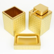 Bathroom Accessory Set Marrakech Gold Faux Leather Thermoplastic Resins Accessory Set Gedy MK200-87