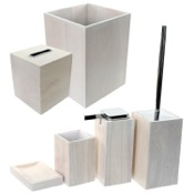 Bathroom Accessory Set Wooden 6 Piece White Bathroom Accessory Set Gedy PA1180-02