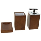 Bathroom Accessory Set Wooden 3 Piece Brown Bathroom Accessory Set Gedy PA281-31