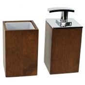 Bathroom Accessory Set Wooden 2 Piece Brown Bathroom Accessory Set Gedy PA581-31