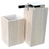 Bathroom Accessory Set Wooden 2 Piece White Bathroom Accessory Set Gedy PA580-02