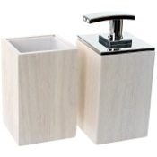 Bathroom Accessory Set Wooden 2 Piece White Bathroom Accessory Set Gedy PA581-02
