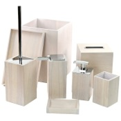 Bathroom Accessory Set Wooden 8 Piece White Bathroom Accessory Set Gedy PA8001-02