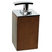 Soap Dispenser Short Brown or White Square Soap Dispenser in Wood Gedy PA81
