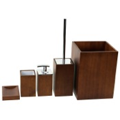 Bathroom Accessory Set Wooden 5 Piece Brown Bathroom Accessory Set Gedy PA900-31