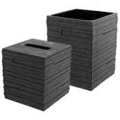 Bathroom Accessory Set Quadrotto Black 2-Piece Bathroom Accessory Set Gedy QU1011-14