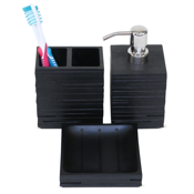 Bathroom Accessory Set Quadrotto Black Bathroom Accessory Set Gedy QU200-14