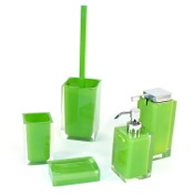 Bathroom Accessory Set Rainbow Green Accessory Set of Thermoplastic Resins Gedy RA300-04