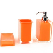 Bathroom Accessory Set 3 Piece Orange Accessory Set of Thermoplastic Resins Gedy RA500-67