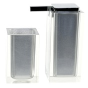 Bathroom Accessory Set Silver Two Pc. Accessory Set Made With Thermoplastic Resins Gedy RA680-73
