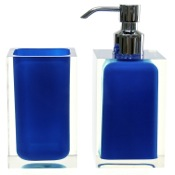 Bathroom Accessory Set Blue Two Pc. Accessory Set Made With Thermoplastic Resins Gedy RA681-05