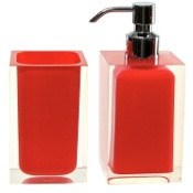 Bathroom Accessory Set Red 2 Pc. Accessory Set Made With Thermoplastic Resins Gedy RA681-06