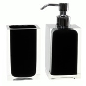 Bathroom Accessory Set Black 2 Pc. Accessory Set Made With Thermoplastic Resins Gedy RA681-14