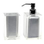 Bathroom Accessory Set Silver 2 Pc. Accessory Set Made With Thermoplastic Resins Gedy RA681-73