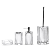 Bathroom Accessory Set Twist Silver Accessory Set of Thermoplastic Resins Gedy TW100-73