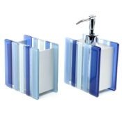Bathroom Accessory Set Blue 2 Piece Tumbler and Soap Dispenser Gedy VI500-11
