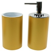 Bathroom Accessory Set Bathroom Accessory 2 Piece Set in Gold Gedy YU580-87