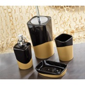 Bathroom Accessory Set Namibia Black/Mustard Pottery Bathroom Accessory Set Gedy NA100